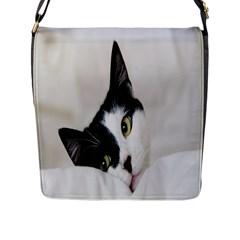 Cat Face Cute Black White Animals Flap Messenger Bag (l)