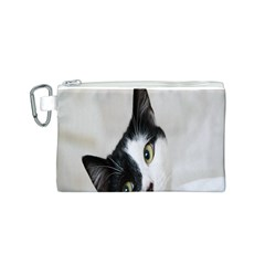 Cat Face Cute Black White Animals Canvas Cosmetic Bag (s)