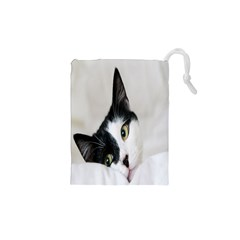 Cat Face Cute Black White Animals Drawstring Pouches (xs)