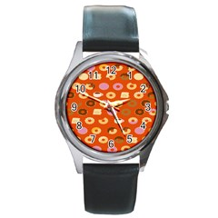 Coffee Donut Cakes Round Metal Watch