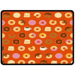 Coffee Donut Cakes Double Sided Fleece Blanket (large)
