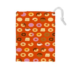 Coffee Donut Cakes Drawstring Pouches (large)
