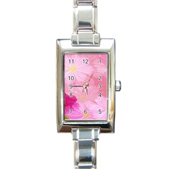 Cosmos Flower Floral Sunflower Star Pink Frame Rectangle Italian Charm Watch