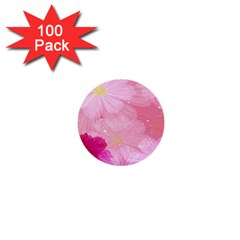 Cosmos Flower Floral Sunflower Star Pink Frame 1  Mini Buttons (100 Pack)