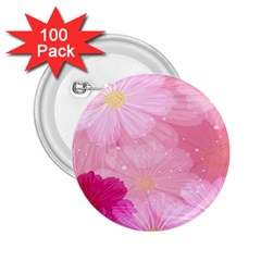 Cosmos Flower Floral Sunflower Star Pink Frame 2 25  Buttons (100 Pack)