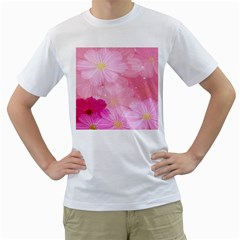 Cosmos Flower Floral Sunflower Star Pink Frame Men s T Shirt (white) (two Sided)