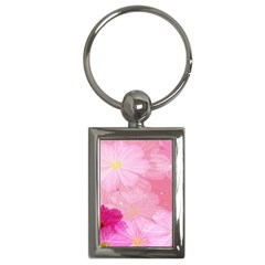 Cosmos Flower Floral Sunflower Star Pink Frame Key Chains (rectangle)
