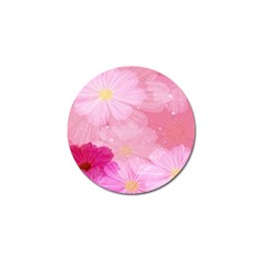 Cosmos Flower Floral Sunflower Star Pink Frame Golf Ball Marker