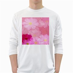 Cosmos Flower Floral Sunflower Star Pink Frame White Long Sleeve T Shirts
