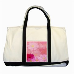 Cosmos Flower Floral Sunflower Star Pink Frame Two Tone Tote Bag