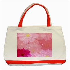 Cosmos Flower Floral Sunflower Star Pink Frame Classic Tote Bag (red)