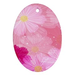 Cosmos Flower Floral Sunflower Star Pink Frame Oval Ornament (two Sides)