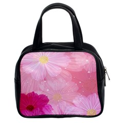 Cosmos Flower Floral Sunflower Star Pink Frame Classic Handbags (2 Sides)
