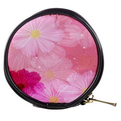 Cosmos Flower Floral Sunflower Star Pink Frame Mini Makeup Bags