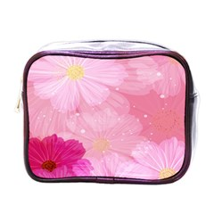 Cosmos Flower Floral Sunflower Star Pink Frame Mini Toiletries Bags