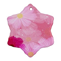 Cosmos Flower Floral Sunflower Star Pink Frame Ornament (snowflake)