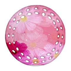 Cosmos Flower Floral Sunflower Star Pink Frame Round Filigree Ornament (two Sides)