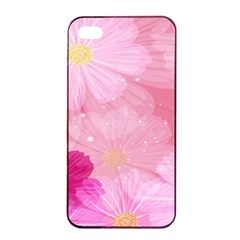 Cosmos Flower Floral Sunflower Star Pink Frame Apple Iphone 4/4s Seamless Case (black)