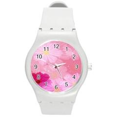 Cosmos Flower Floral Sunflower Star Pink Frame Round Plastic Sport Watch (m)