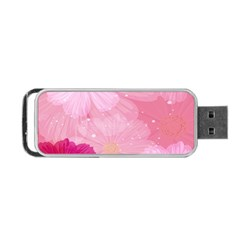 Cosmos Flower Floral Sunflower Star Pink Frame Portable Usb Flash (two Sides)