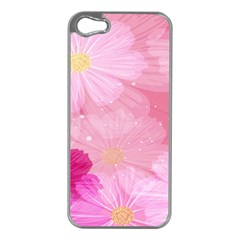Cosmos Flower Floral Sunflower Star Pink Frame Apple Iphone 5 Case (silver)