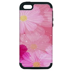 Cosmos Flower Floral Sunflower Star Pink Frame Apple Iphone 5 Hardshell Case (pc+silicone)