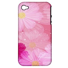Cosmos Flower Floral Sunflower Star Pink Frame Apple Iphone 4/4s Hardshell Case (pc+silicone)
