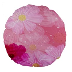 Cosmos Flower Floral Sunflower Star Pink Frame Large 18  Premium Round Cushions