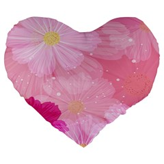 Cosmos Flower Floral Sunflower Star Pink Frame Large 19  Premium Heart Shape Cushions