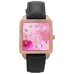 Cosmos Flower Floral Sunflower Star Pink Frame Rose Gold Leather Watch
