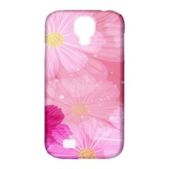 Cosmos Flower Floral Sunflower Star Pink Frame Samsung Galaxy S4 Classic Hardshell Case (pc+silicone)