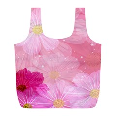 Cosmos Flower Floral Sunflower Star Pink Frame Full Print Recycle Bags (l)