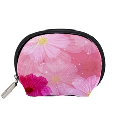 Cosmos Flower Floral Sunflower Star Pink Frame Accessory Pouches (small)