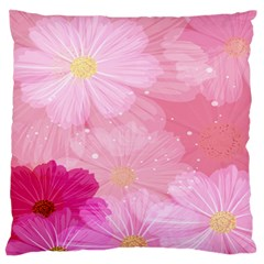 Cosmos Flower Floral Sunflower Star Pink Frame Standard Flano Cushion Case (two Sides)