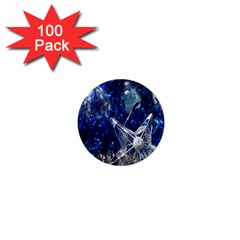 Christmas Silver Blue Star Ball Happy Kids 1  Mini Magnets (100 Pack)