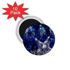 Christmas Silver Blue Star Ball Happy Kids 1 75  Magnets (10 Pack)
