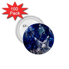 Christmas Silver Blue Star Ball Happy Kids 1 75  Buttons (100 Pack)