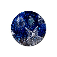 Christmas Silver Blue Star Ball Happy Kids Rubber Round Coaster (4 Pack)