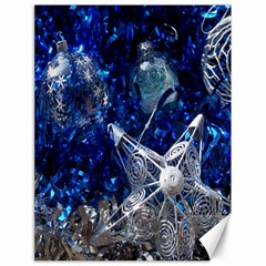 Christmas Silver Blue Star Ball Happy Kids Canvas 18  X 24