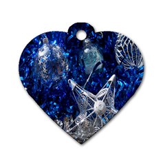 Christmas Silver Blue Star Ball Happy Kids Dog Tag Heart (two Sides)