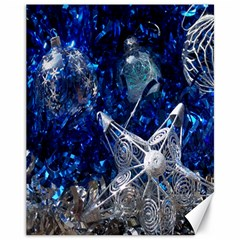 Christmas Silver Blue Star Ball Happy Kids Canvas 11  X 14