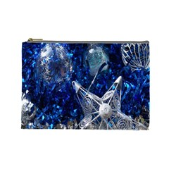 Christmas Silver Blue Star Ball Happy Kids Cosmetic Bag (large)