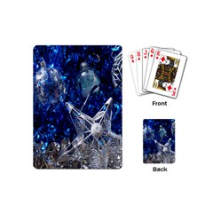 Christmas Silver Blue Star Ball Happy Kids Playing Cards (mini)