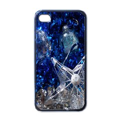Christmas Silver Blue Star Ball Happy Kids Apple Iphone 4 Case (black)