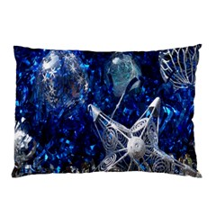 Christmas Silver Blue Star Ball Happy Kids Pillow Case (two Sides)