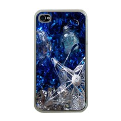 Christmas Silver Blue Star Ball Happy Kids Apple Iphone 4 Case (clear)