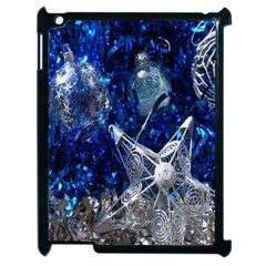 Christmas Silver Blue Star Ball Happy Kids Apple Ipad 2 Case (black)