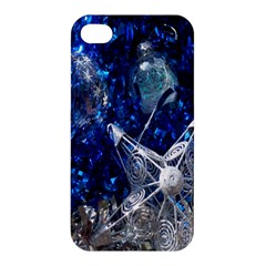 Christmas Silver Blue Star Ball Happy Kids Apple Iphone 4/4s Hardshell Case