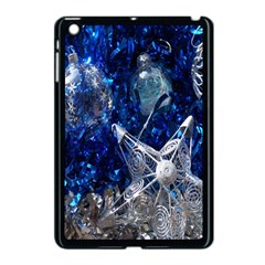 Christmas Silver Blue Star Ball Happy Kids Apple Ipad Mini Case (black)