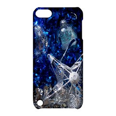 Christmas Silver Blue Star Ball Happy Kids Apple Ipod Touch 5 Hardshell Case With Stand
